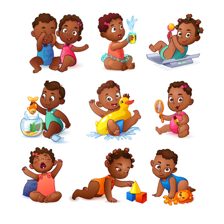 Baby children boys and girls. African American Kids.
