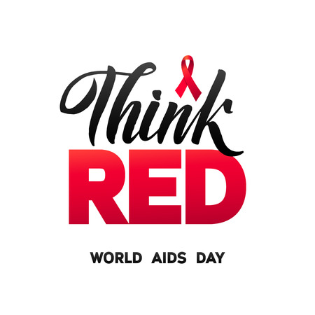 Think Red. World Aids Day 1 December. Red AIDS ribbon isolated on white background with shadow. AIDS awareness. HIV & STI. HIV symbol. HIV disease.