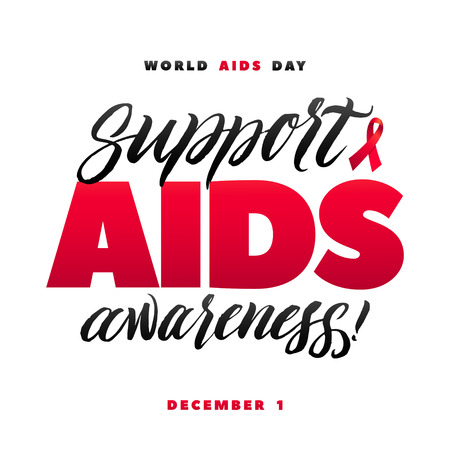 Support AIDS Awareness. World Aids Day 1 December. Red AIDS ribbon isolated on white background with shadow. AIDS awareness. HIV & STI. HIV symbol. HIV disease.