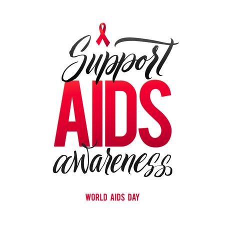 Soutenir la sensibilisation au sida. Journée mondiale du sida 1er Décembre. Le ruban rouge du sida isolé sur fond blanc avec l'ombre. la sensibilisation au sida. VIH & IST. le symbole du VIH. la maladie du VIH. Vecteurs
