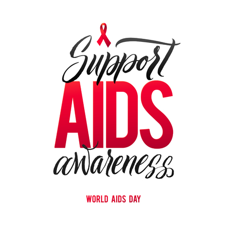 sexual intercourse: Support AIDS Awareness. World Aids Day 1 December. Red AIDS ribbon isolated on white background with shadow. AIDS awareness. HIV & STI. HIV symbol. HIV disease.