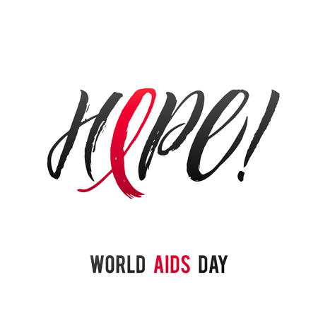 Hope. World Aids Day 1 December. Red AIDS ribbon isolated on white background with shadow. AIDS awareness. HIV & STI. HIV symbol. HIV disease.