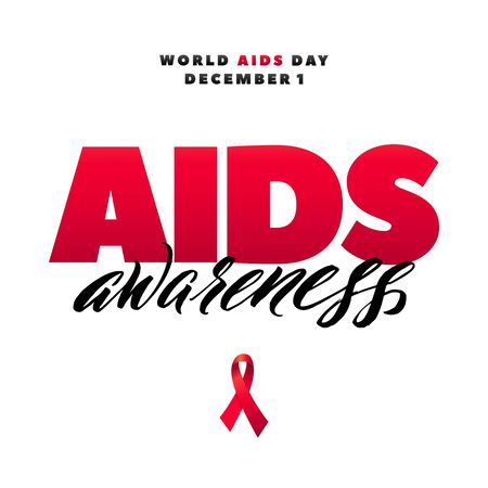World Aids Day 1 December. Red AIDS ribbon isolated on white background with shadow. AIDS awareness. HIV & STI. HIV symbol. HIV disease.
