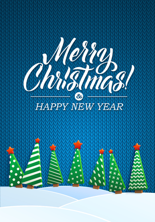 ner: Christmas Greeting Card. Merry Christmas lettering, vector illustration. Volume toys, Christmas trees and snowdrifts. Christmas decorations, greeting illustration.