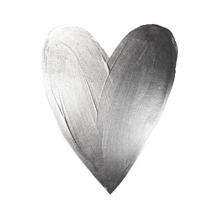 Vector Silver Foil Paint Heart on White Background. Love Concept Design Happy Valintinas Day. Easy to use and edit. Reklamní fotografie - 68698163