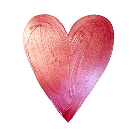 Vector Pink Foil Paint Heart on White Background. Love Concept Design Happy Valintinas Day. Easy to use and edit.