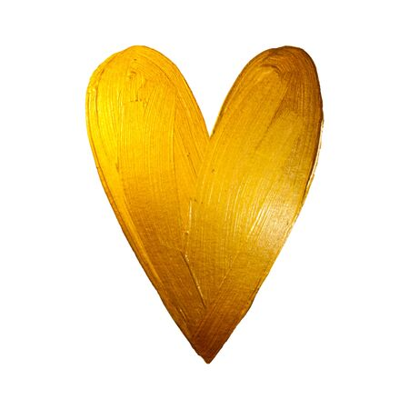 Vector Gold Foil Paint Heart on White Background. Love Concept Design Happy Valintinas Day. Easy to use and edit. Illustration