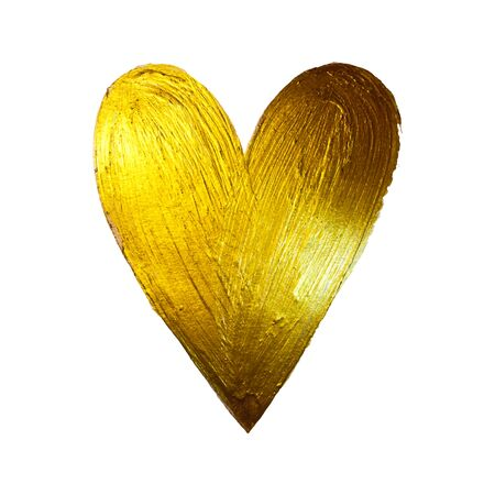 Vector Gold Foil Paint Heart on White Background. Love Concept Design Happy Valintinas Day. Easy to use and edit.  イラスト・ベクター素材