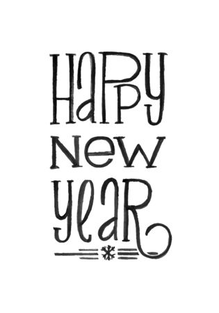 Happy New Year Retro Vector Poster. Black and White Monochrome Design. Ink Hand Drawn Calligraphy Template for Winter Holidays