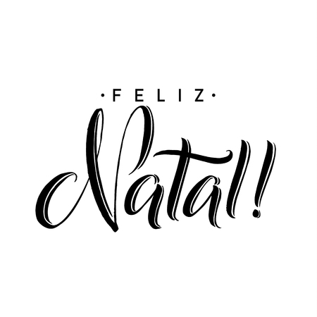Feliz Natal. Merry Christmas Calligraphy Template in Portuguese. Greeting Card Black Typography on White Background. Vector Illustration Hand Drawn Lettering Vektorové ilustrace