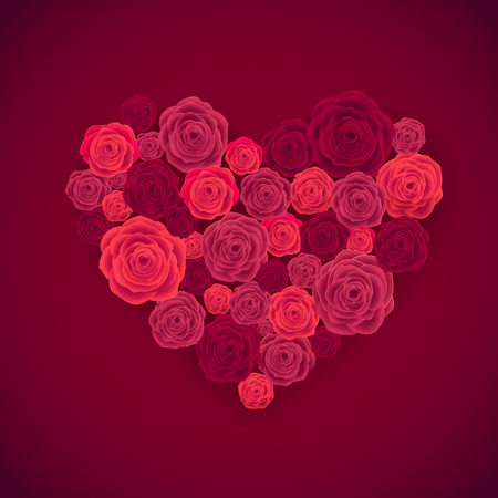 dozen: Rose Heart Isolated on Red Background. Happy Valentines Day Card. Wedding Poster