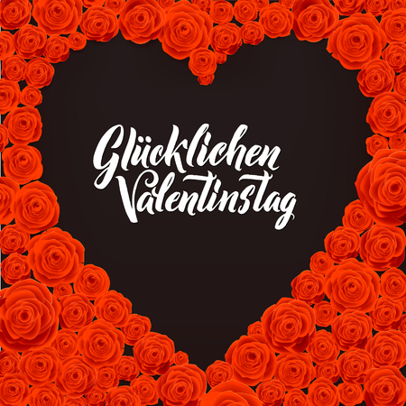 Happy Valentines Day German Language Card. Black Heart Shape on Rose Flowers Background. Wedding Poster