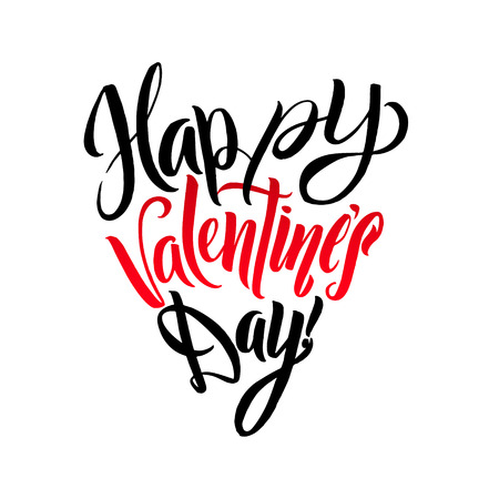 Happy Valentines Day Lettering Greeting Card Heart Shape. Calligraphic Template Illustration