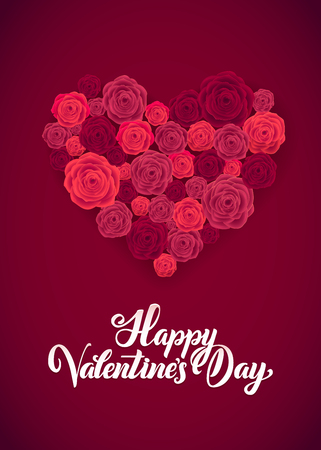 Happy Valentines Day. White Lettering B ackground Greeting Card. Illustration