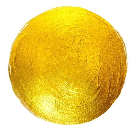 Gold Foil Round Shining Paint Stain Hand Drawn Raster Illustration.