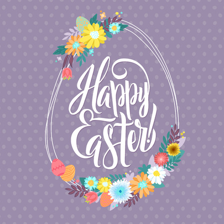 caligraphy: Easter Greetings Typographical Egg Shape Greeting Card. Floral Wreath. Hand Lettering, Calligraphy Polka Dot Vector Illustration