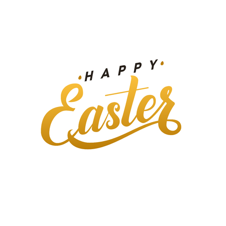 godness: Happy Easter Calligraphy Greeting Card. Modern Brush Lettering. Joyful wishes, holiday greetings. Golden and Black Letters, White Background