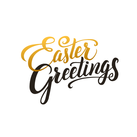Happy Easter Calligraphy Greeting Card. Modern Brush Lettering. Joyful wishes, holiday greetings. Golden and Black Letters, White Background