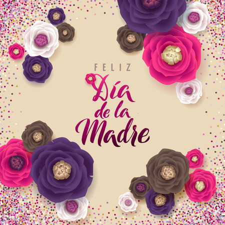 Mothers Day greeting card. Confetti and Floral Background Ilustração