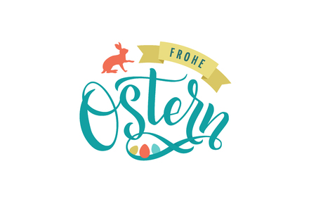 Happy Easter Germany calligraphy greeting card. Modern brush lettering. Joyful wishes.