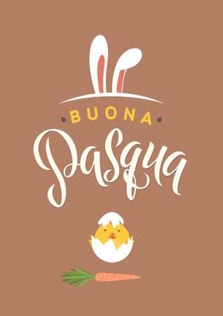 Happy Easter Italian Calligraphy Greeting Card. Modern Brush Lettering. Joyful Wishes, Holiday Greetings. Pastel Background. Bunny and Chicken Illustration