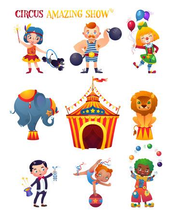 Circus cartoon characters.
