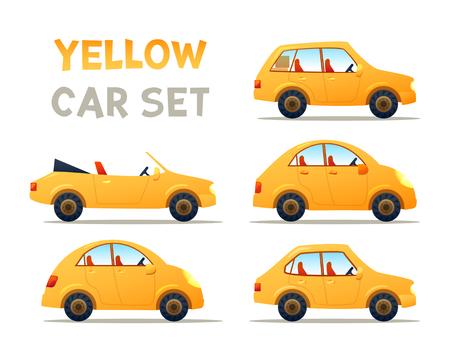 family van: Yellow car set illustration. Illustration