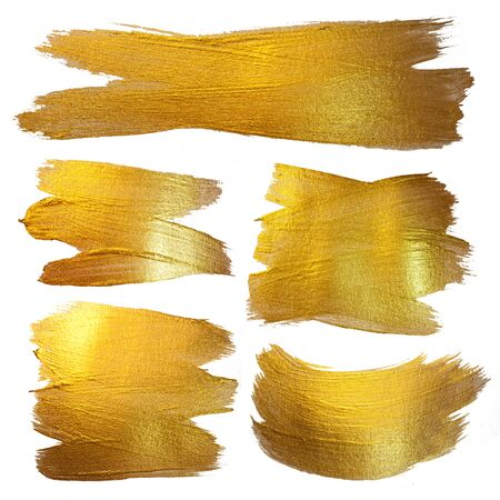 Gold Watercolor Texture Paint Stain Abstract Illustration. Shining Brush Stroke Set for you Amazing Design Project. Stock Photo