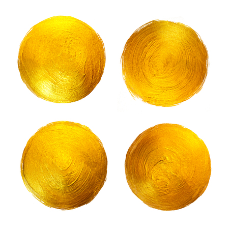 Gold Foil Watercolor Texture Paint Stain Abstract Illustration. Shining Circle Brush Stroke Set for you Amazing Design Project.