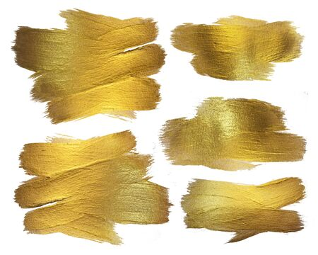 Gold Watercolor Texture Paint Stain Abstract Illustration. Shining Brush Stroke Set for you Amazing Design Project. White background. Stock Photo