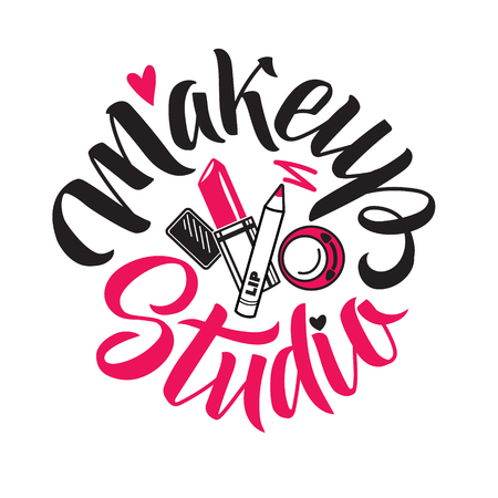 Makeup Studio Vector Logo. Illustration of cosmetics. Round Lettering illustration
