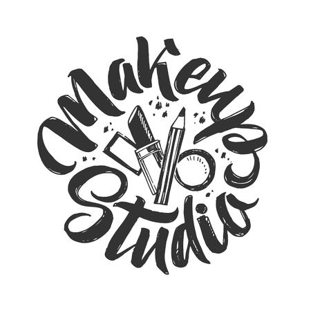 Makeup Studio Vector Logo. Hand Drawn Illustration of cosmetics. Round Lettering illustration