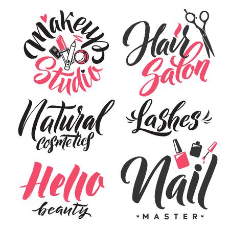 Logo Beauty Vector Lettering. Custom handmade calligraphy. Фото со стока - 81365477