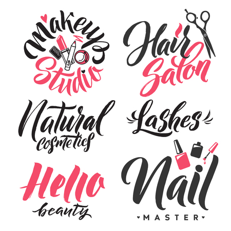 Logo Beauty Vector Lettering. Custom handmade calligraphy. Illustration