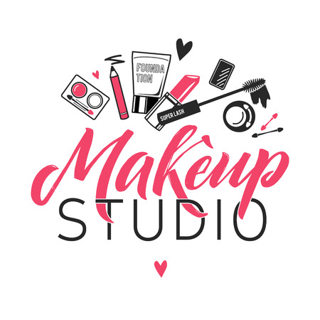 Makeup Studio Vector Logo. Illustration of cosmetics. Lettering illustration