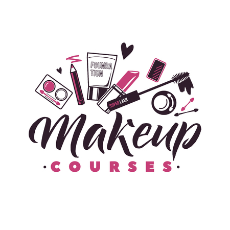Makeup Courses Vector Logo. Illustration of cosmetics. Beautiful Lettering illustration Ilustracja