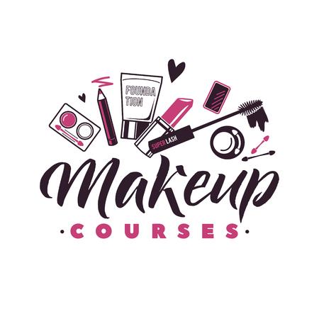 Makeup Courses Vector Logo. Illustration of cosmetics. Beautiful Lettering illustration Illustration