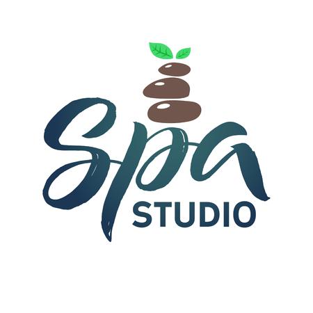 SPA-Studio-Vektor-Logo. Strich Grüne Blatt Illustration ...