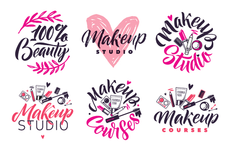 Makeup Studio and Courses Vector Logo Set. Illustration of cosmetics. Lettering illustration