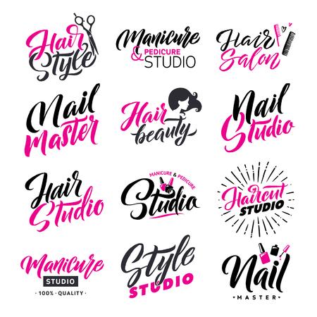 Logo schoonheidssalon belettering set. Haarstudio en Nagel Meester. Aangepaste handgemaakte kalligrafie, vector.