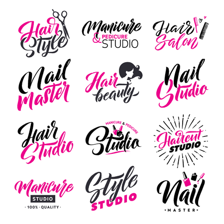Logo Beauty Salon Lettering Set. Hair Studio and Nail Master. Custom handmade calligraphy, vector.