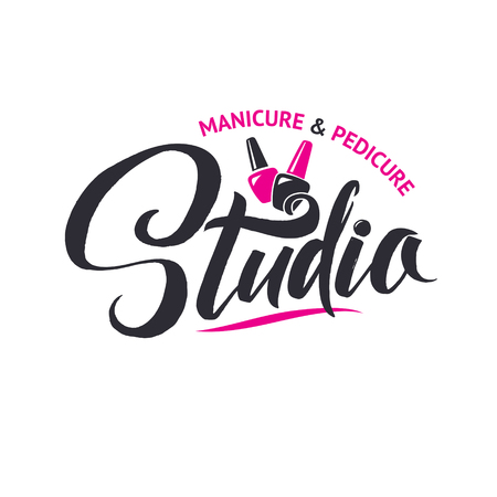 Manicure Studio. Nail Master Logo Beauty Vector Lettering. Custom Handmade Calligraphy. Vector Illustation