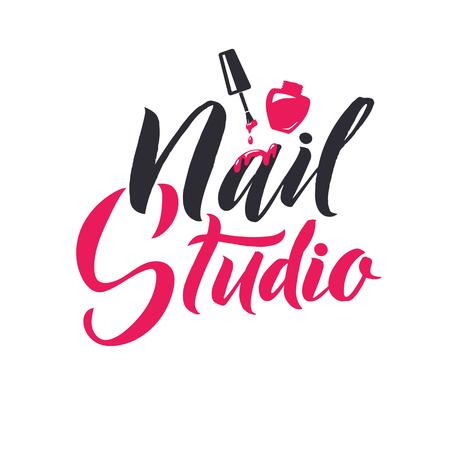マニキュアのスタジオ。マスターのロゴの美しさの爪文字をベクトルします。カスタムの手作り書道。ベクトル Illustation