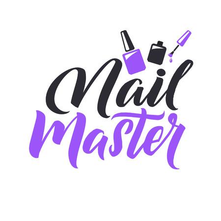 Studio de manucure. Nail Master Logo Lettrage de vecteur de beauté. Calligraphie à la main personnalisée. Vector Illustation