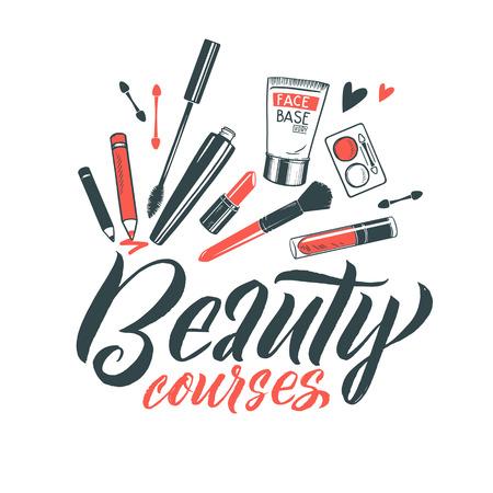 Logo Beauty Courses Vector Lettering. Custom handmade calligraphy. Vector Illustation