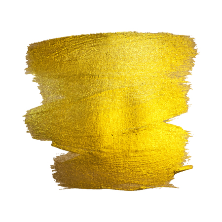 Gold Watercolor Texture Paint Stain Abstract Illustration. Shining Brush Stroke Set for you Amazing Design Project. White background. Illustration