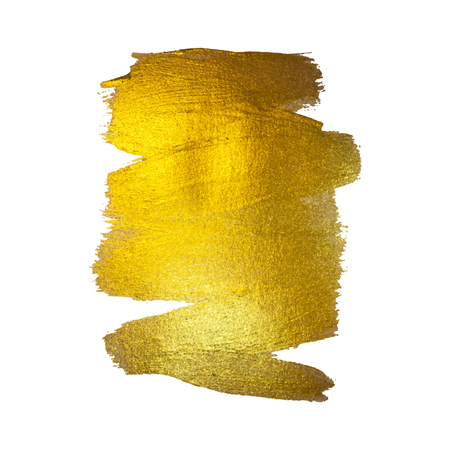 Gold Foil Vector Illustration. Watercolor Texture Paint Stain Abstract Shining Brush Stroke for you Amazing Design Project. White background Ilustração