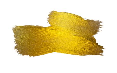 Goldfolie Vektor-Illustration. Aquarell Textur Farbe Fleck Abstrakt Glänzend Pinsel Schlaganfall für Sie Amazing Design Project. Weißer Hintergrund.