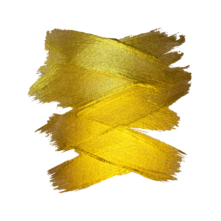 Gold Foil Vector Illustration. Watercolor Texture Paint Stain Abstract Shining Brush Stroke for you Amazing Design Project. White background.