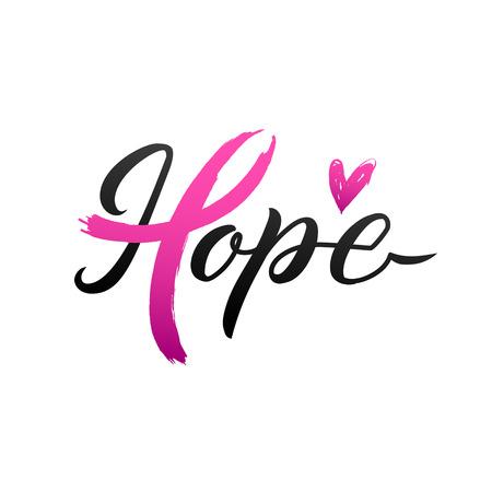 Projekt plakatu kaligrafii świadomości raka piersi wektor. Różowa wstążka obrysu. Październik to miesiąc świadomości raka.